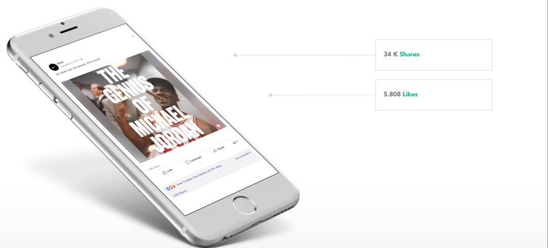 Abb. 1.3: Nike wirbt mit bekannten Sportlern wie Michael Jordan und erhält dafür eine große Resonanz: die User identifizieren sich mit der Person, den Höhen sowie Tiefen der Erfolgsgeschichte und reflektieren die Eindrücke auf die Brand. (Quelle: suxeedo)